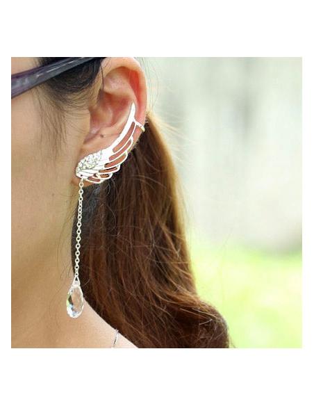 Cercel ear cuff pentru ambele urechi, pana cu cristale