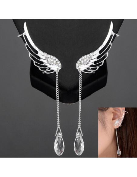 Cercel ear cuff pentru ambele urechi, aripa cu cristale