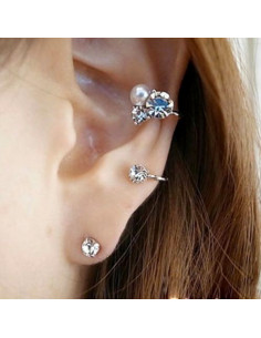 Cercel ear cuff pentru ambele urechi, fir auriu cu cristale si perla
