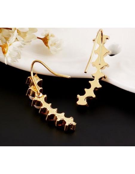 Cercei aurii micuti, ramurele cu perle si cristale albe