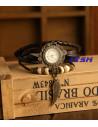 Ceas de mana vintage cu lucky charm pana si cadran inflorat, cureluse din piele impletite