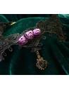 Colier choker din dantela neagra de matase flori mov si medalion