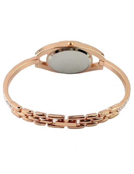 Ceas auriu cu bratara subtire cu cristale si cadran oval