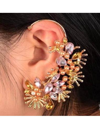 Cercel ear cuff auriu cu cristale roz si mici perle