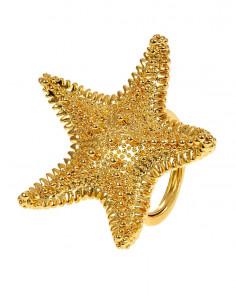 Inel auriu statement, stea de mare cu tepisori