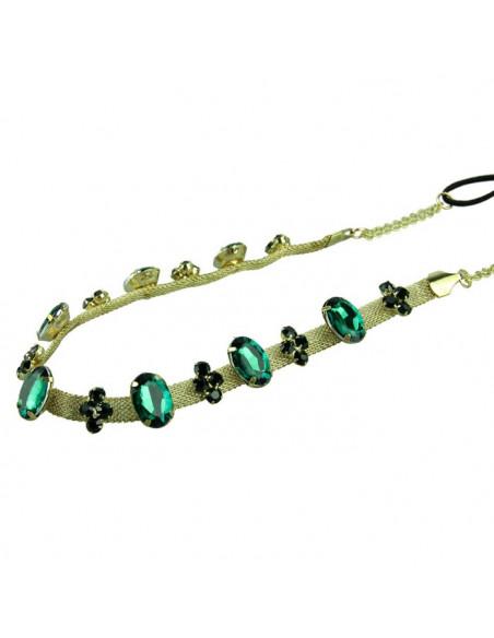 Bentita pentru par cu cristale verzi si lantisor lat auriu