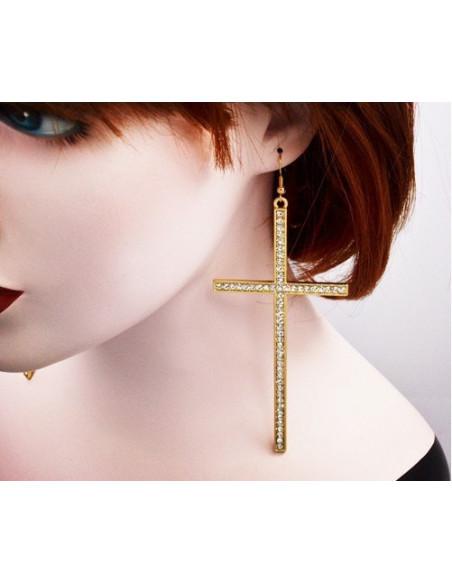 Cercei cu cruce si cristale, cercei mari cruci lungi model exagerat