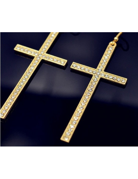 Cercei cu cruce si cristale, cercei mari cruci lungi model mediu