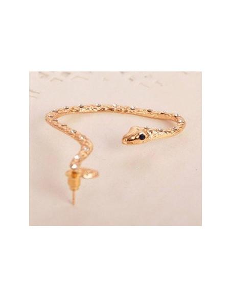 Cercel ear cuff, model sarpe auriu cu cristale negre si ochi albi