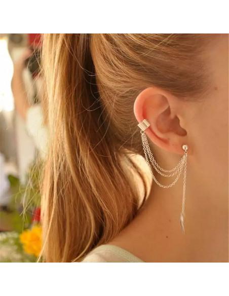 Cercel tip ear cuff, frunza cu lantisor triplu si biluta