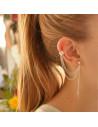 Cercei tip ear cuff, frunza cu lantisor triplu si biluta