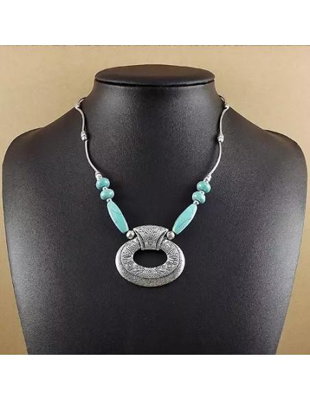 Lant argintiu cu medalion mayas si pietre din howlit turcoaz