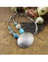 Lant argintiu cu medalion spirala si pietre din howlit turcoaz