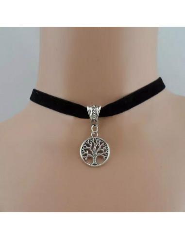 Colier choker din catifea neagra, cu medalion Copacul Vietii