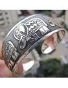 Bratara vintage metalica argintie lata cu elefanti