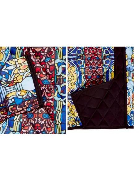 Jacheta scurta de toamna, matlasata, model mozaic multicolor