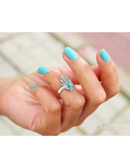 Inel argintiu cu hamsa si biluta turcoaz pentru mijlocul degetului