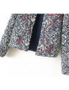 Jacheta scurta de toamna, matlasata, cu imprimeu baroque si broderie rosie