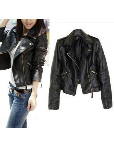 Jacheta biker de dama, din piele ecologica cu revere ascutite, de toamna