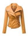 Jacheta biker de dama, cu fermoar pe o parte, din piele ecologica si textil