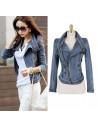 Jacheta scurta de toamna, din blugi, albastru cu fermoare