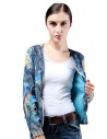 Jacheta scurta de toamna, subtire, cu imprimeu floral paisley