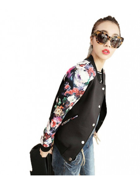 Jacheta scurta de toamna, subtire, neagra cu maneci trandafiri