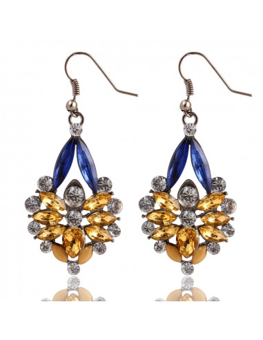 Cercei statement micuti din cristale aurii chihlimbar, albastre si albe