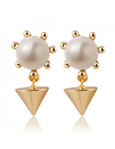 Cercei statement crown pearl cu tep auriu metalic si perla