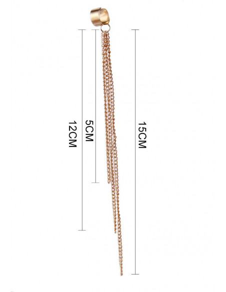 Cercei ear cuff trei lanturi lungi 15cm