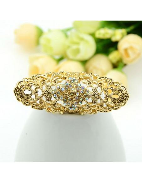 Inel foarte lung, auriu, model floral cu cristale colorate