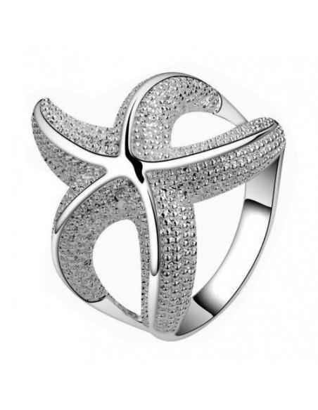 Inel placat cu argint, model stea de mare cu cinci brate