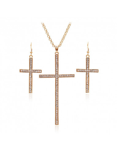 Set cercei si lant cu cruce si cristale, cercei mari cruci lungi model exagerat