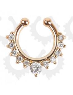 Inel fals pentru nas Septum Ring tip coronita cu cristale, piercing fals