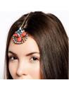 Accesoriu pentru par, agrafa aurie cu medalion statement cristale colorate