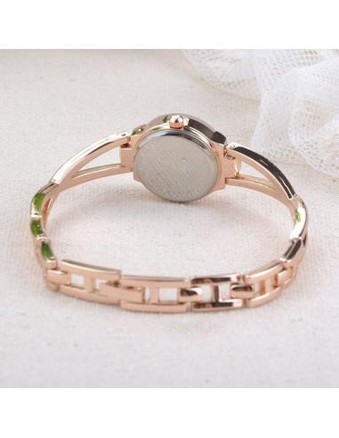 Ceas de mana, auriu si elegant cu mici cristale si curea in X