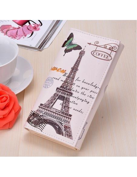 Portofel boho cu motive parisiene - Turnul Eiffel