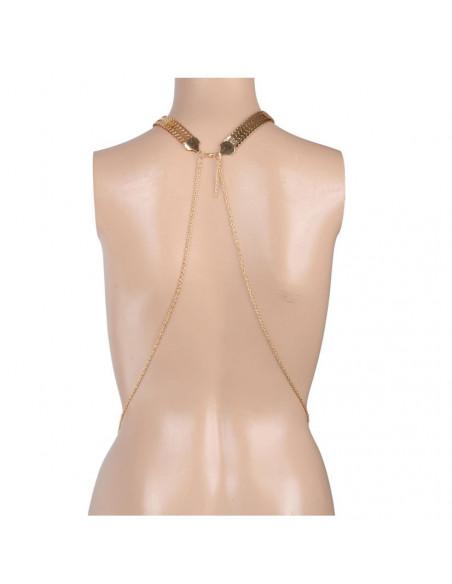 Lant pentru corp auriu, cu colier lat cu zale si lanturi pe laterale