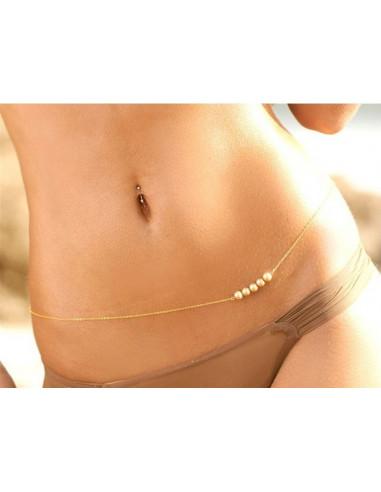 Lant pentru corp auriu cu trei perle albe