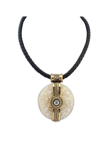 Colier statement cu medalion vintage rotund cu cristale