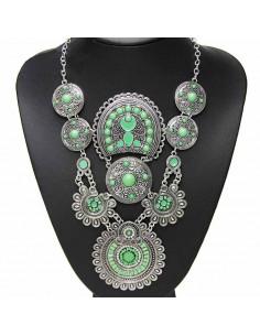 Colier statement argintiu cu verde deschis si medalioane rotunde