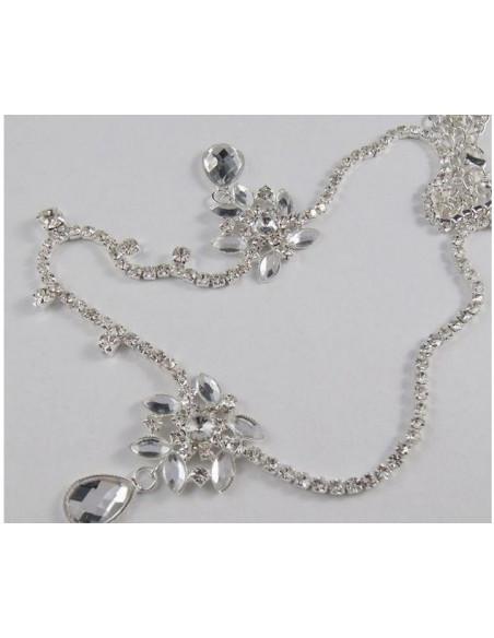 Bentita de mireasa, bentita argintie cu flori din cristale albe Kim Kardashian