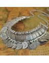 Colier indian argintiu cu banuti si motive etnice