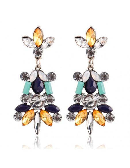 Cercei statement din cristale aurii chihlimbar, albastre si albe