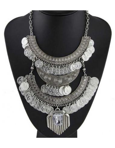 Colier indian argintiu cu doua randuri de banuti si cristal