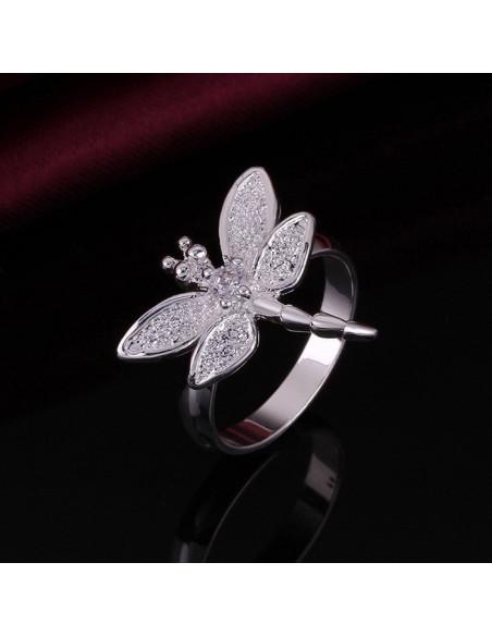 Inel placat cu argint, cu libelula si cristal alb