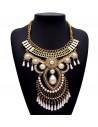 Colier statement, model indian, din metal auriu cu perle