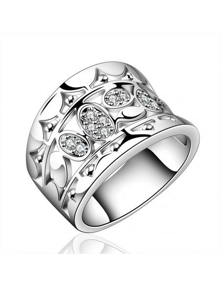 Inel din argint, coroana lata abstracta cu cristale