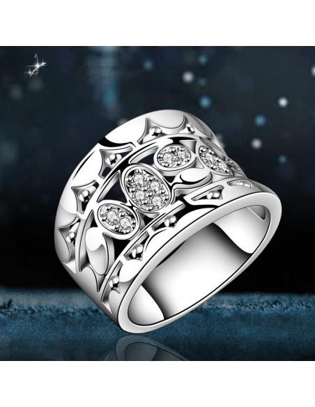 Inel din argint, model simplu cu 7 margarete si cristale