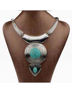 Colier argintiu indian cu medalion mare si pietre turcoaz